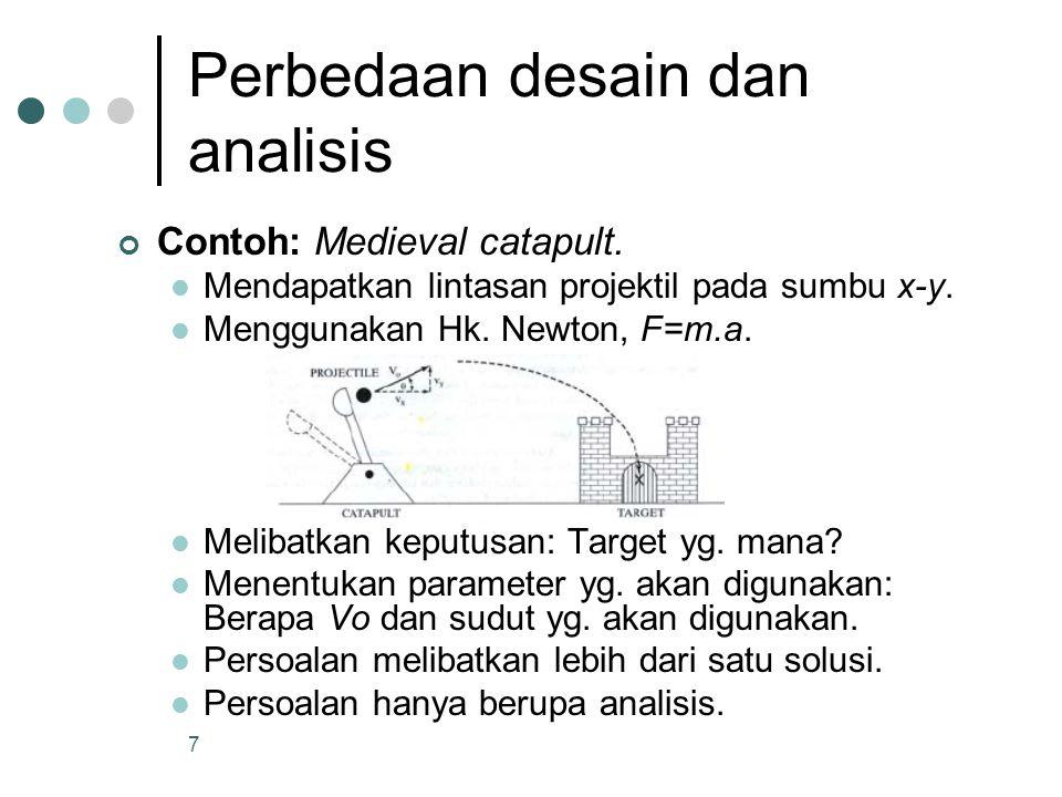 7 Perbedaan desain dan analisis Contoh: Medieval catapult. Mendapatkan lintasan projektil pada sumbu x-y. Menggunakan Hk. Newton, F=m.a. Melibatkan ke