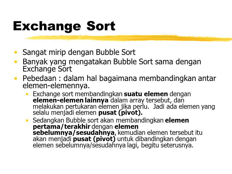 Exchange Sort Sangat mirip dengan Bubble Sort Banyak yang mengatakan Bubble Sort sama dengan Exchange Sort Pebedaan : dalam hal bagaimana membandingka