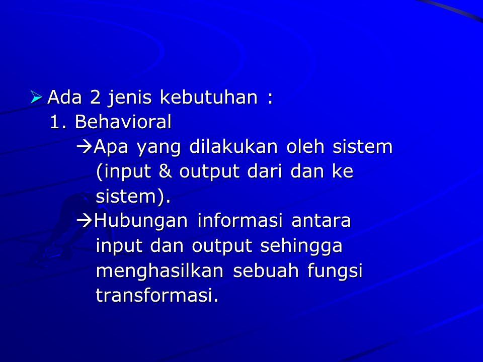 AAAAda 2 jenis kebutuhan : 1. Behavioral Apa yang dilakukan oleh sistem (input & output dari dan ke sistem). Hubungan informasi antara input dan