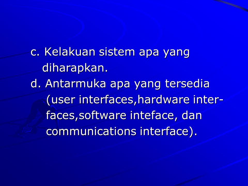 c. Kelakuan sistem apa yang c. Kelakuan sistem apa yang diharapkan. diharapkan. d. Antarmuka apa yang tersedia d. Antarmuka apa yang tersedia (user in