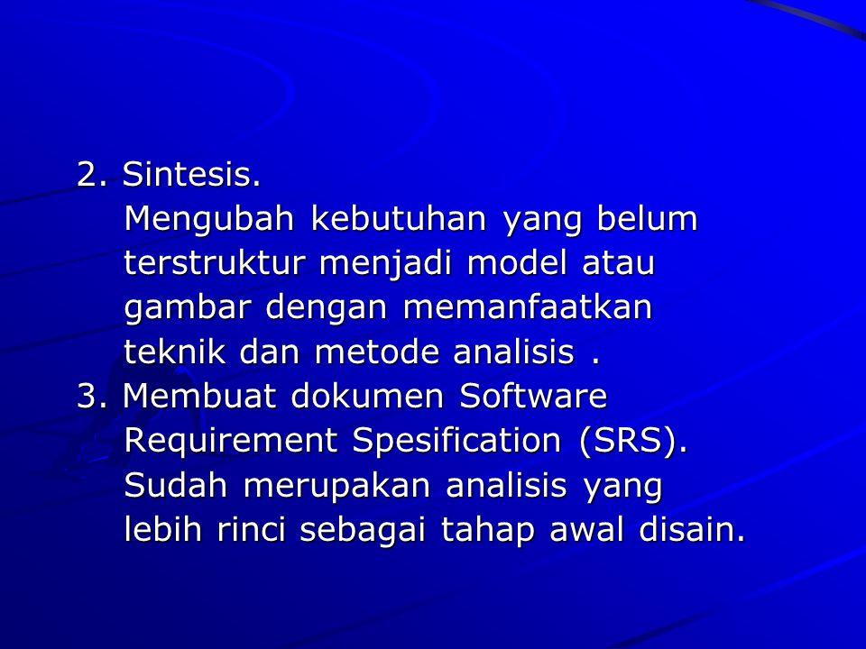 2. Sintesis. 2. Sintesis. Mengubah kebutuhan yang belum Mengubah kebutuhan yang belum terstruktur menjadi model atau terstruktur menjadi model atau ga