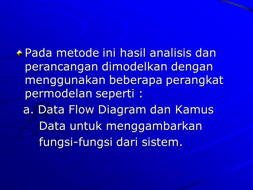 Pada metode ini hasil analisis dan perancangan dimodelkan dengan menggunakan beberapa perangkat permodelan seperti : a. Data Flow Diagram dan Kamus Da