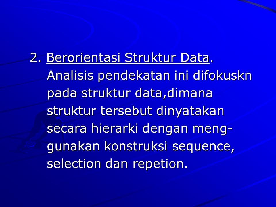 2. Berorientasi Struktur Data. 2. Berorientasi Struktur Data. Analisis pendekatan ini difokuskn Analisis pendekatan ini difokuskn pada struktur data,d