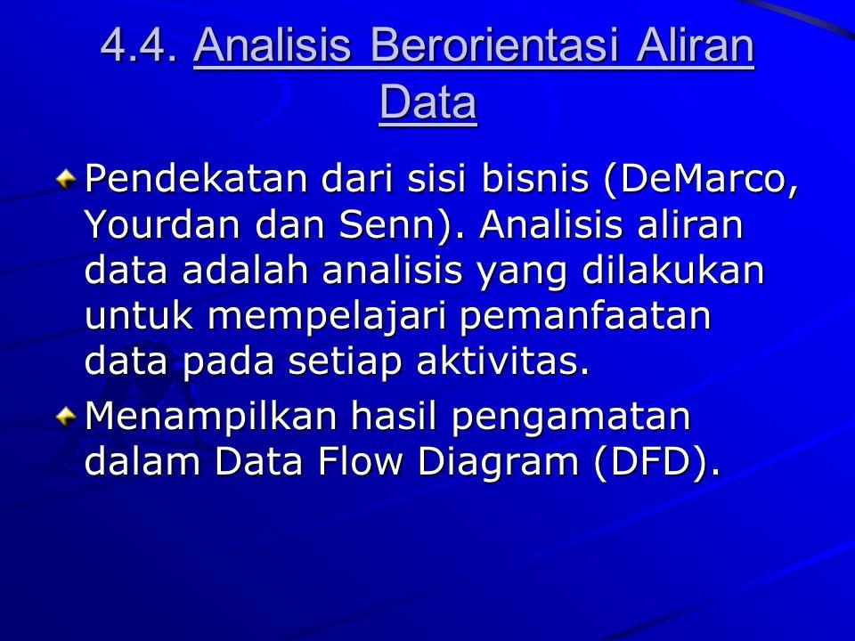 4.4. Analisis Berorientasi Aliran Data Pendekatan dari sisi bisnis (DeMarco, Yourdan dan Senn). Analisis aliran data adalah analisis yang dilakukan un
