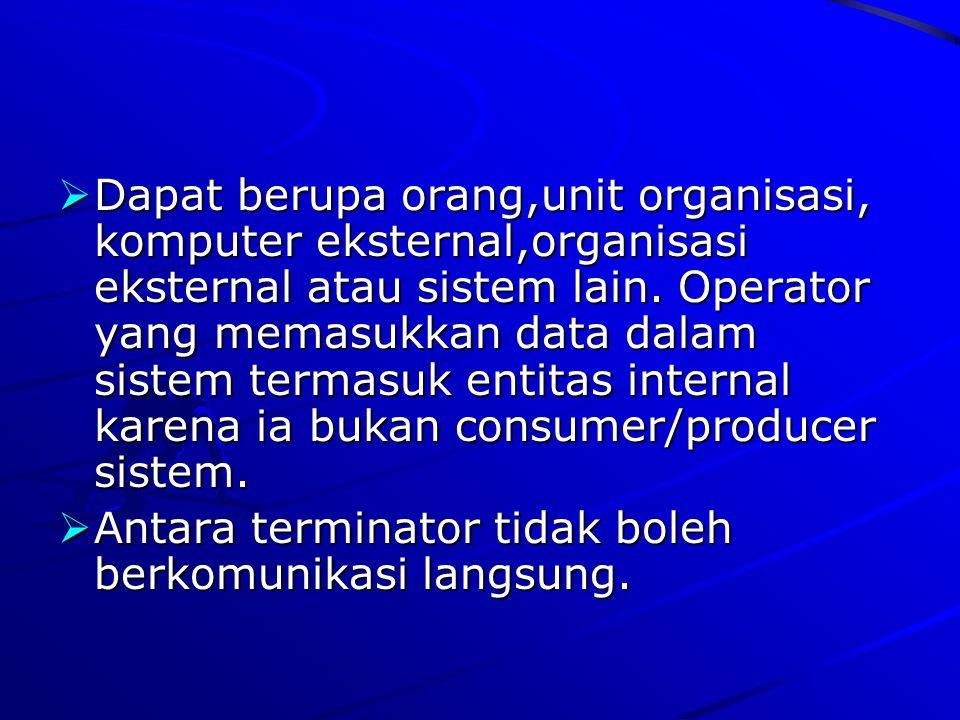  Dapat berupa orang,unit organisasi, komputer eksternal,organisasi eksternal atau sistem lain. Operator yang memasukkan data dalam sistem termasuk en