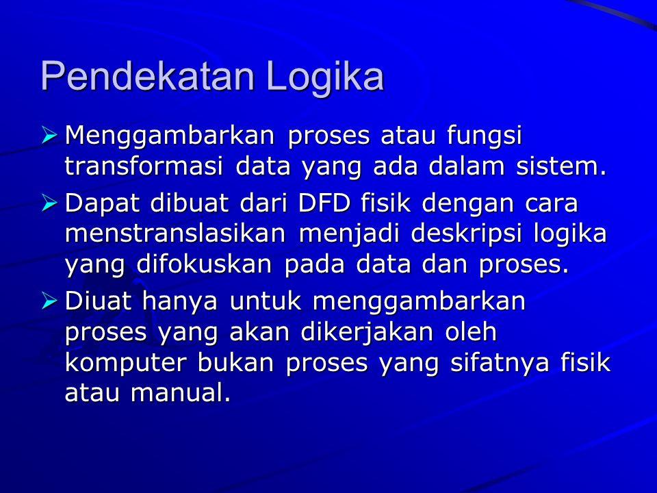 Pendekatan Logika  Menggambarkan proses atau fungsi transformasi data yang ada dalam sistem.  Dapat dibuat dari DFD fisik dengan cara menstranslasik