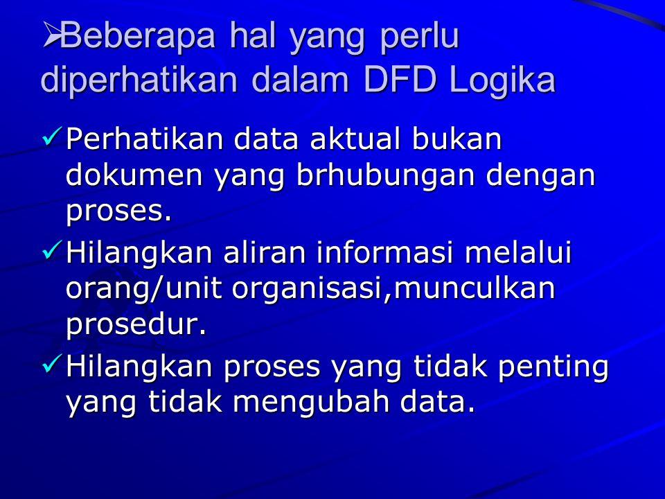 BBBBeberapa hal yang perlu diperhatikan dalam DFD Logika Perhatikan data aktual bukan dokumen yang brhubungan dengan proses. Hilangkan aliran info