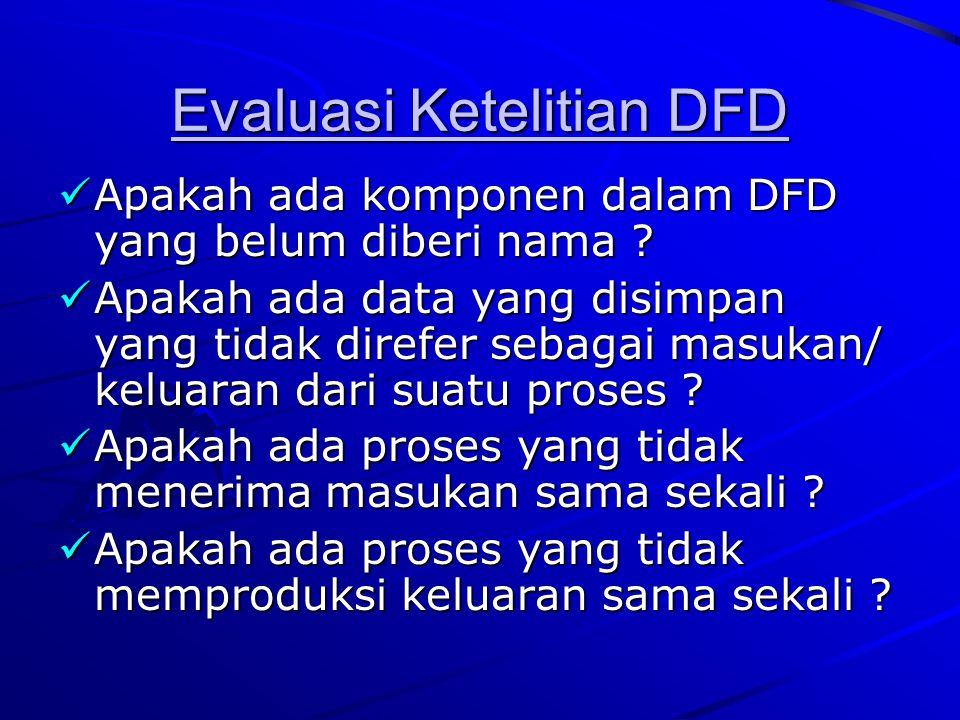 Evaluasi Ketelitian DFD Apakah ada komponen dalam DFD yang belum diberi nama ? Apakah ada komponen dalam DFD yang belum diberi nama ? Apakah ada data