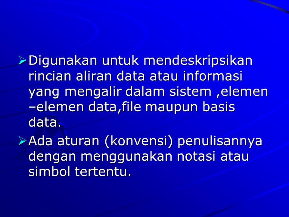  Digunakan untuk mendeskripsikan rincian aliran data atau informasi yang mengalir dalam sistem,elemen –elemen data,file maupun basis data.  Ada atur