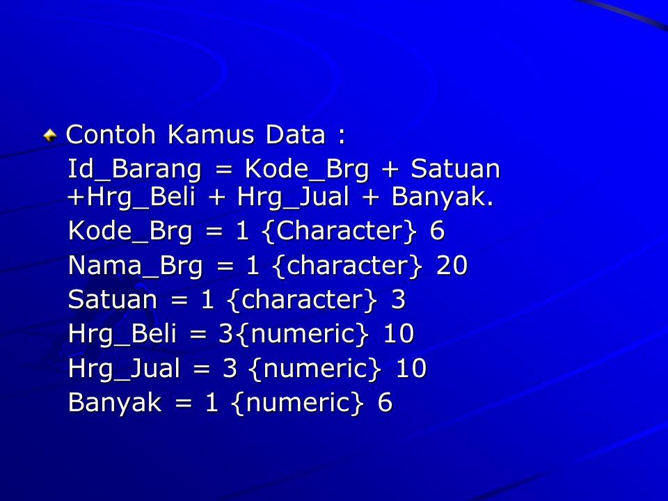 Contoh Kamus Data : Id_Barang = Kode_Brg + Satuan +Hrg_Beli + Hrg_Jual + Banyak. Id_Barang = Kode_Brg + Satuan +Hrg_Beli + Hrg_Jual + Banyak. Kode_Brg