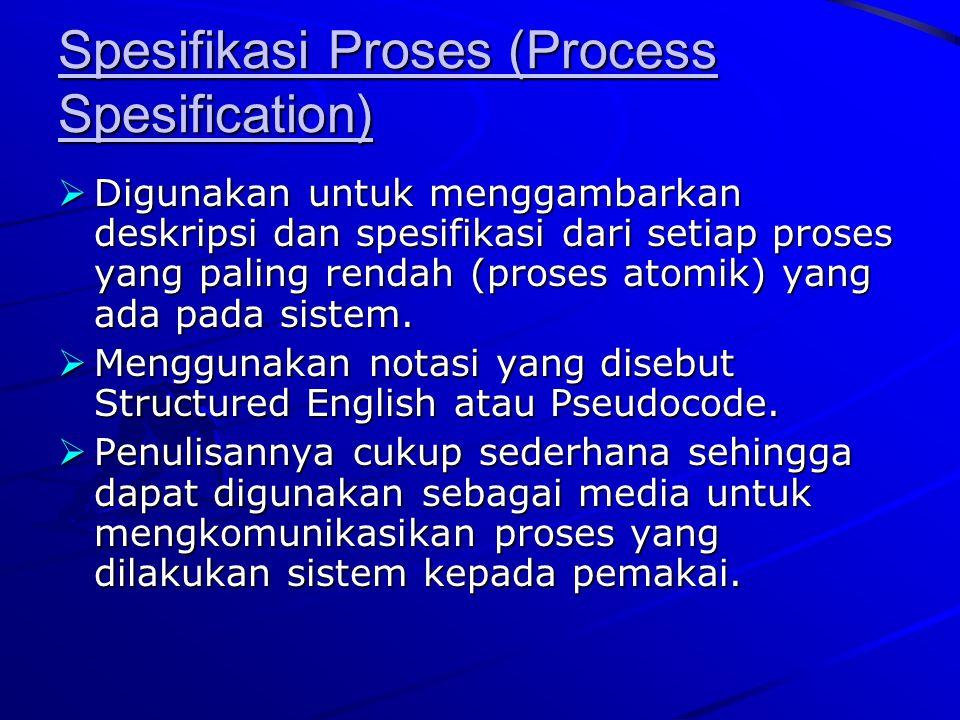 Spesifikasi Proses (Process Spesification)  Digunakan untuk menggambarkan deskripsi dan spesifikasi dari setiap proses yang paling rendah (proses ato