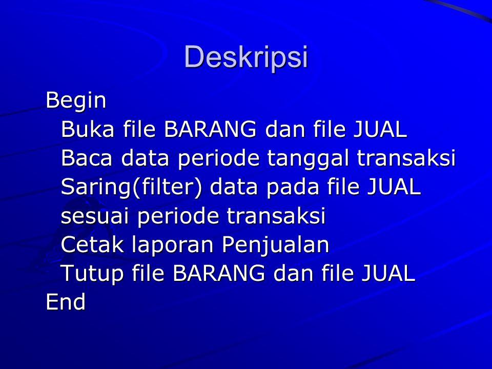 Deskripsi Begin Begin Buka file BARANG dan file JUAL Buka file BARANG dan file JUAL Baca data periode tanggal transaksi Baca data periode tanggal tran