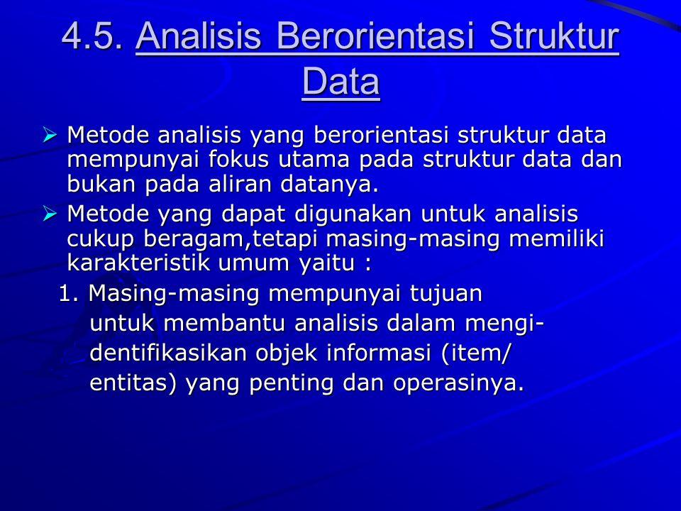 4.5. Analisis Berorientasi Struktur Data  Metode analisis yang berorientasi struktur data mempunyai fokus utama pada struktur data dan bukan pada ali