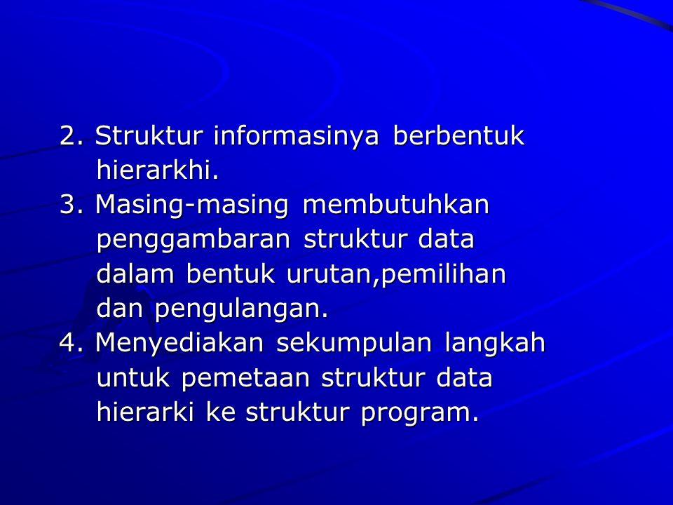 2. Struktur informasinya berbentuk 2. Struktur informasinya berbentuk hierarkhi. hierarkhi. 3. Masing-masing membutuhkan 3. Masing-masing membutuhkan