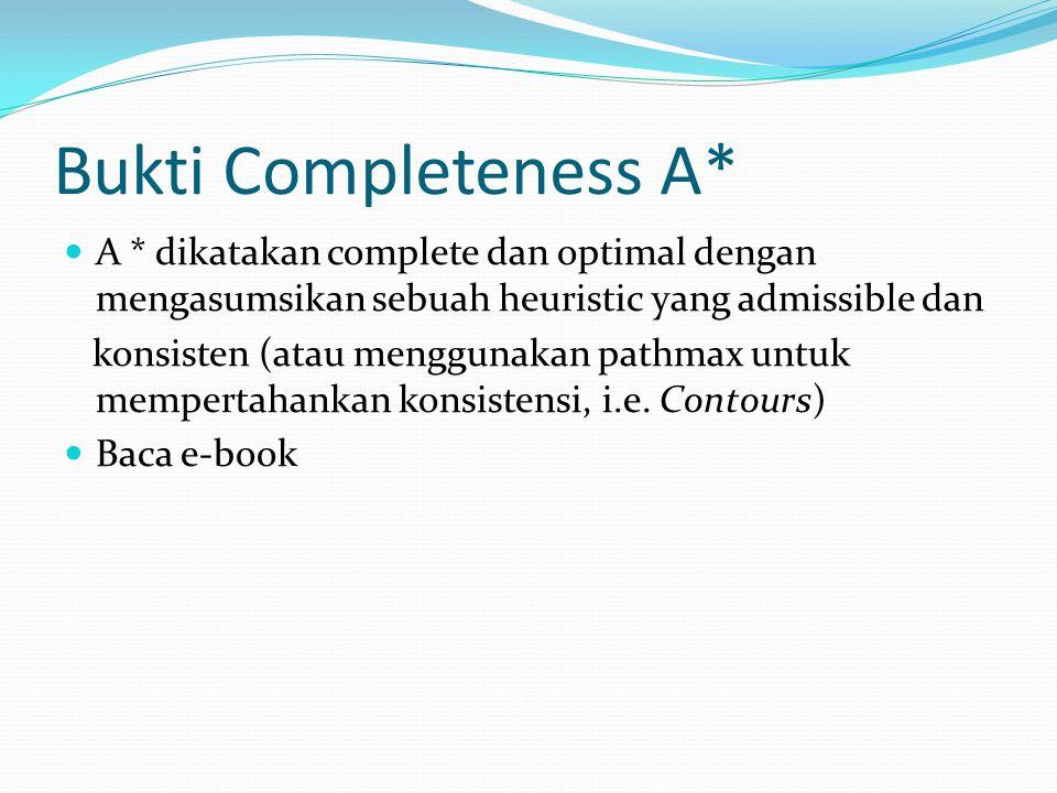 Bukti Completeness A* A * dikatakan complete dan optimal dengan mengasumsikan sebuah heuristic yang admissible dan konsisten (atau menggunakan pathmax