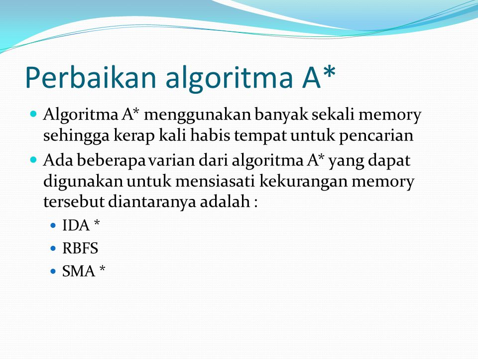 Perbaikan algoritma A* Algoritma A* menggunakan banyak sekali memory sehingga kerap kali habis tempat untuk pencarian Ada beberapa varian dari algorit