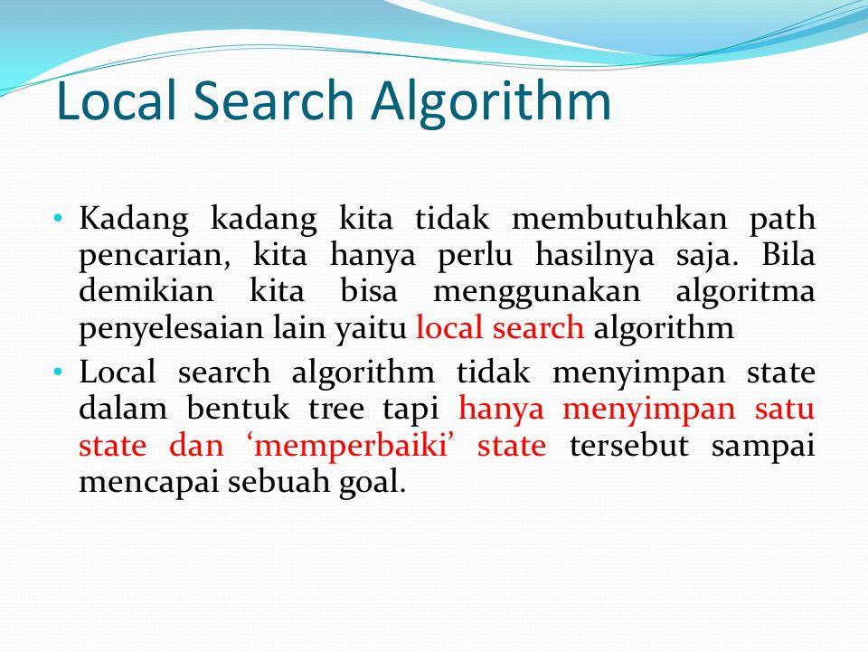 Local Search Algorithm Kadang kadang kita tidak membutuhkan path pencarian, kita hanya perlu hasilnya saja. Bila demikian kita bisa menggunakan algori