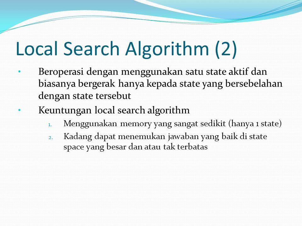 Local Search Algorithm (2) Beroperasi dengan menggunakan satu state aktif dan biasanya bergerak hanya kepada state yang bersebelahan dengan state ters