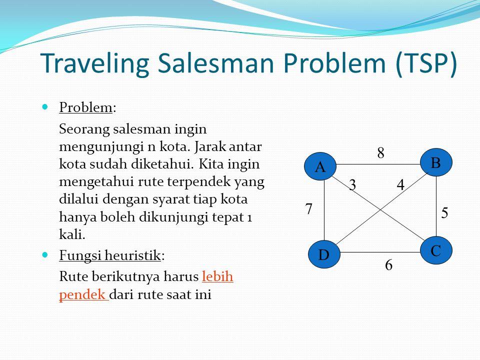 Traveling Salesman Problem (TSP) Problem: Seorang salesman ingin mengunjungi n kota. Jarak antar kota sudah diketahui. Kita ingin mengetahui rute terp