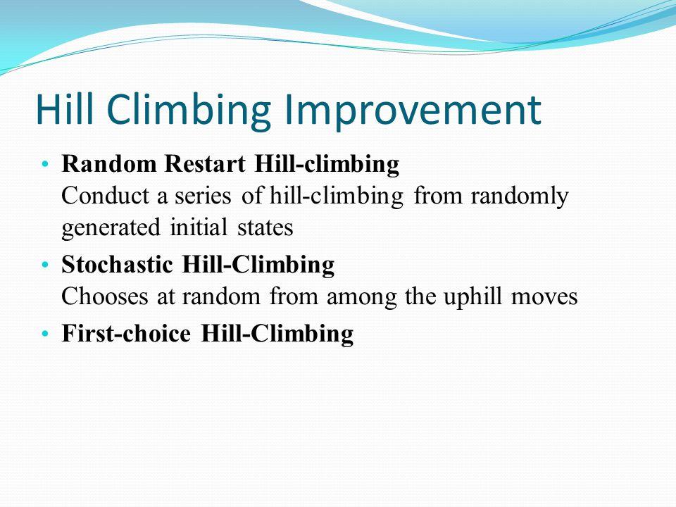 Hill Climbing Improvement Random Restart Hill-climbing Conduct a series of hill-climbing from randomly generated initial states Stochastic Hill-Climbi
