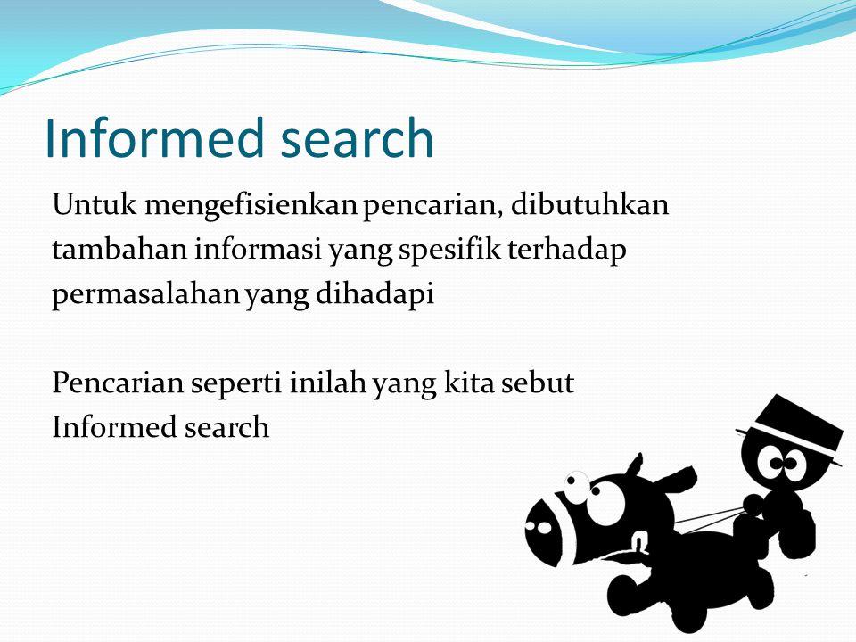 Informed search Untuk mengefisienkan pencarian, dibutuhkan tambahan informasi yang spesifik terhadap permasalahan yang dihadapi Pencarian seperti inil