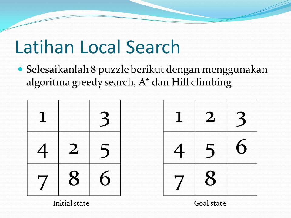 Latihan Local Search Selesaikanlah 8 puzzle berikut dengan menggunakan algoritma greedy search, A* dan Hill climbing 13 425 786 123 456 78 Initial sta