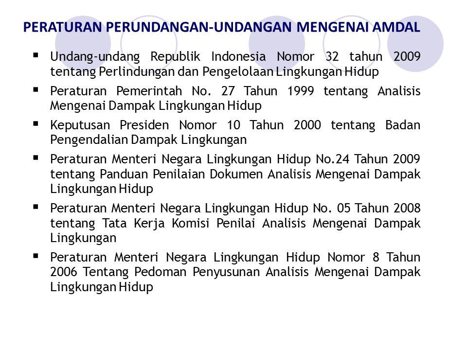 PERATURAN PERUNDANGAN-UNDANGAN MENGENAI AMDAL  Undang-undang Republik Indonesia Nomor 32 tahun 2009 tentang Perlindungan dan Pengelolaan Lingkungan H