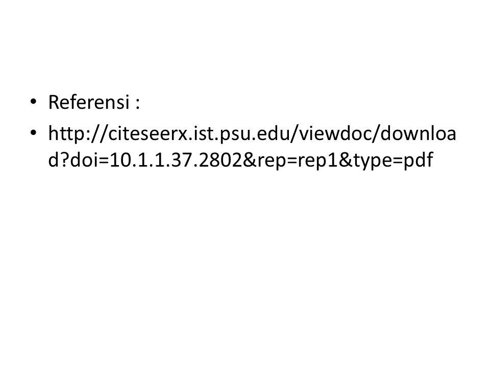 Referensi : http://citeseerx.ist.psu.edu/viewdoc/downloa d?doi=10.1.1.37.2802&rep=rep1&type=pdf