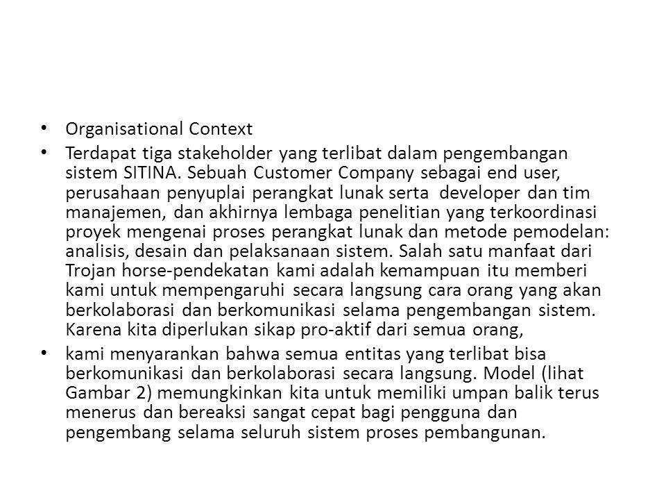 Organisational Context Terdapat tiga stakeholder yang terlibat dalam pengembangan sistem SITINA. Sebuah Customer Company sebagai end user, perusahaan