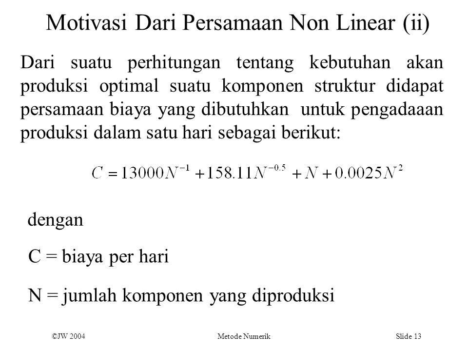 ©JW 2004 Metode Numerik Slide 13 Motivasi Dari Persamaan Non Linear (ii) Dari suatu perhitungan tentang kebutuhan akan produksi optimal suatu komponen