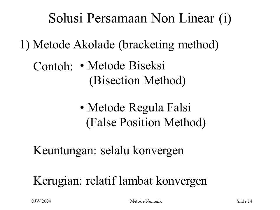 ©JW 2004 Metode Numerik Slide 14 Solusi Persamaan Non Linear (i) 1) Metode Akolade (bracketing method) Contoh: Metode Biseksi (Bisection Method) Keunt