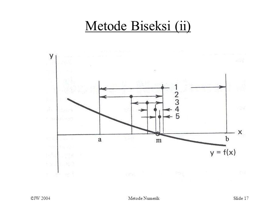 ©JW 2004 Metode Numerik Slide 17 Metode Biseksi (ii)