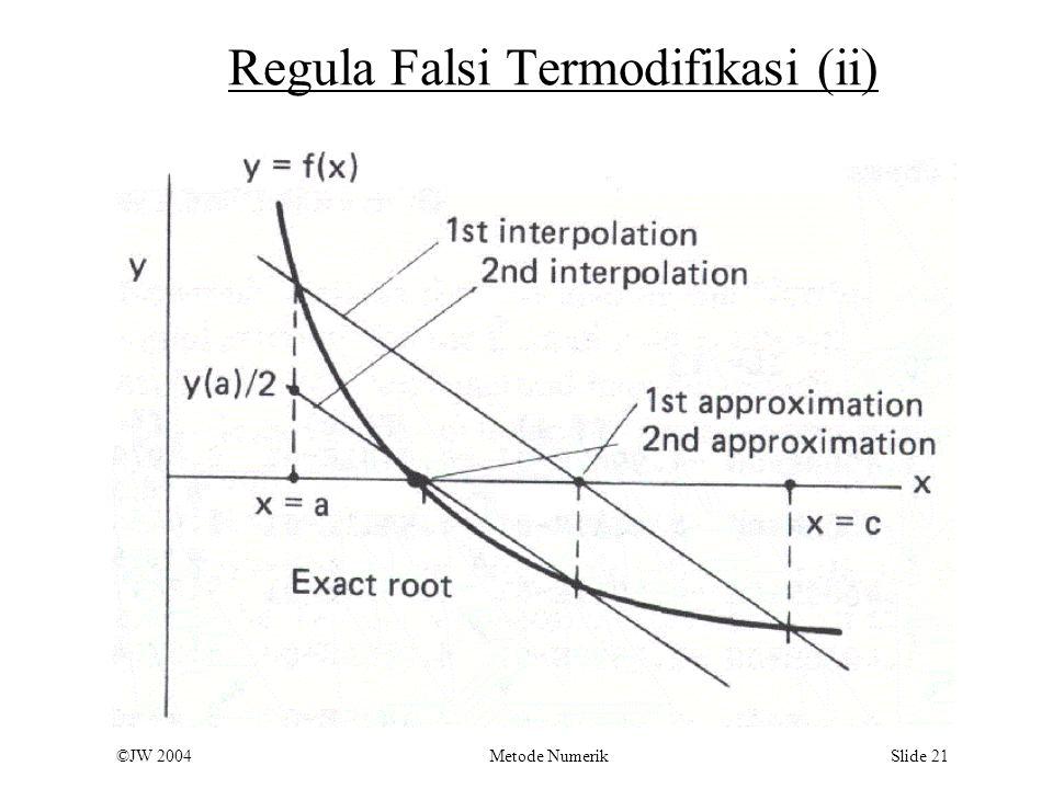©JW 2004 Metode Numerik Slide 21 Regula Falsi Termodifikasi (ii)
