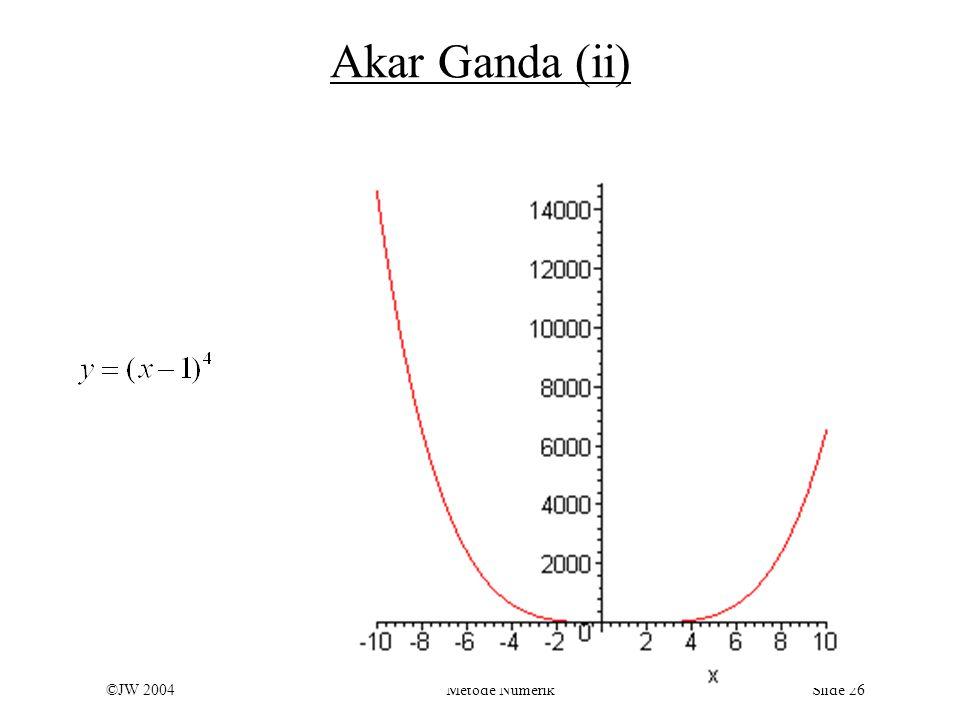 ©JW 2004 Metode Numerik Slide 26 Akar Ganda (ii)