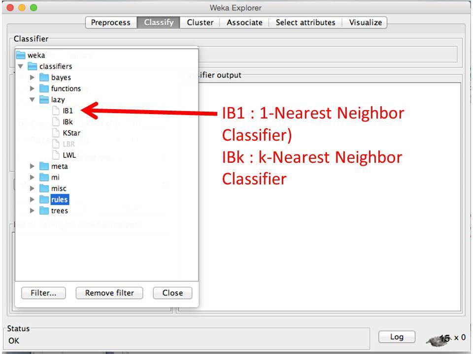 15 IB1 : 1-Nearest Neighbor Classifier) IBk : k-Nearest Neighbor Classifier