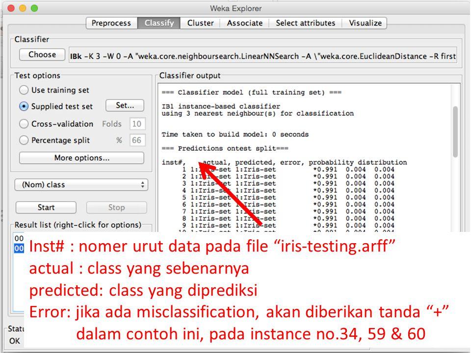 """Inst# : nomer urut data pada file """"iris-testing.arff"""" actual : class yang sebenarnya predicted: class yang diprediksi Error: jika ada misclassificatio"""