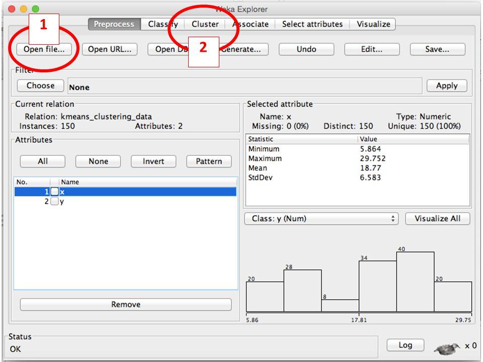 46 Klik untuk memilih algoritma clustering Pilih Use training set