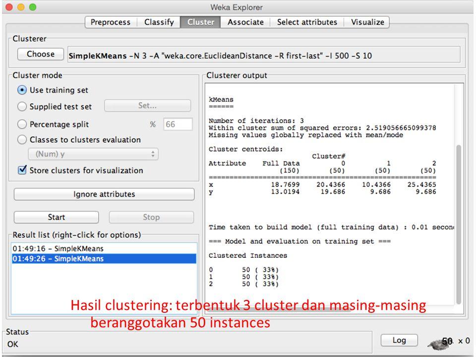 50 Hasil clustering: terbentuk 3 cluster dan masing-masing beranggotakan 50 instances