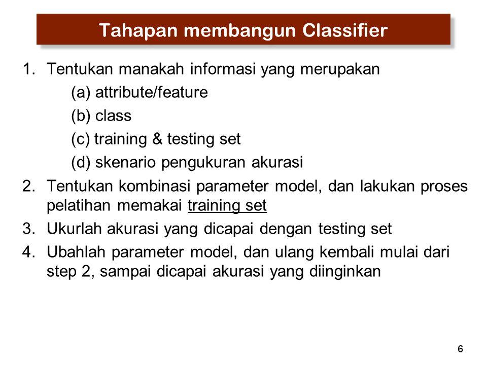 6 Tahapan membangun Classifier 1.Tentukan manakah informasi yang merupakan (a) attribute/feature (b) class (c) training & testing set (d) skenario pen
