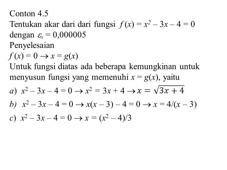 Conton 4.5 Tentukan akar dari dari fungsi f (x) = x 2 – 3x – 4 = 0 dengan  s = 0,000005 Penyelesaian f (x) = 0  x = g(x) Untuk fungsi diatas ada beberapa kemungkinan untuk menyusun fungsi yang memenuhi x = g(x), yaitu a) x 2 – 3x – 4 = 0  x 2 = 3x + 4  b)x 2 – 3x – 4 = 0  x(x – 3) – 4 = 0  x = 4/(x – 3) c) x 2 – 3x – 4 = 0  x = (x 2 – 4)/3