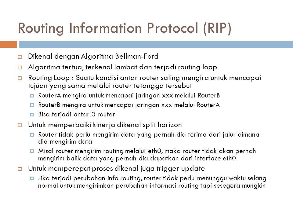 Routing Information Protocol (RIP)  Dikenal dengan Algoritma Bellman-Ford  Algoritma tertua, terkenal lambat dan terjadi routing loop  Routing Loop