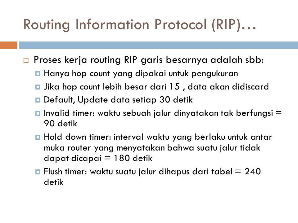 Routing Information Protocol (RIP)…  Proses kerja routing RIP garis besarnya adalah sbb:  Hanya hop count yang dipakai untuk pengukuran  Jika hop c
