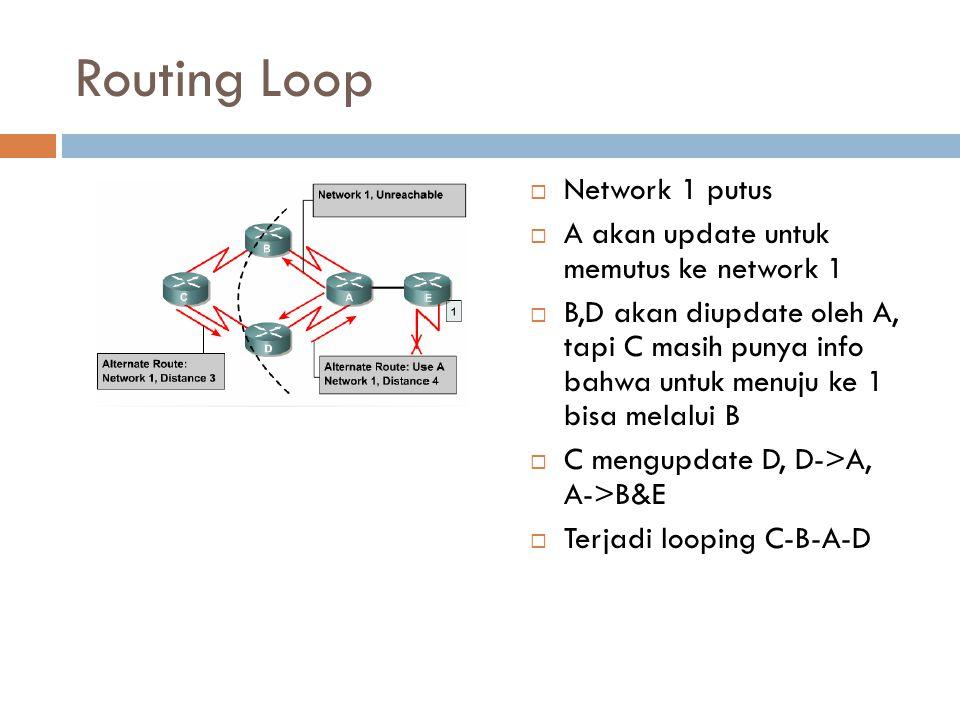 Routing Loop  Network 1 putus  A akan update untuk memutus ke network 1  B,D akan diupdate oleh A, tapi C masih punya info bahwa untuk menuju ke 1