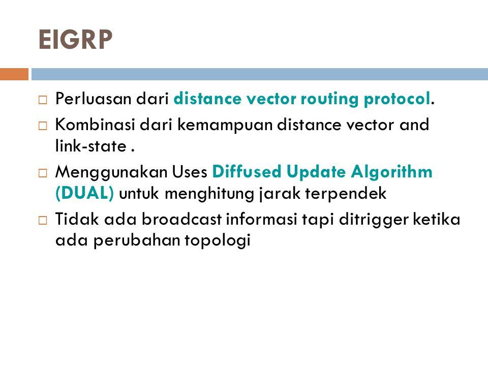 EIGRP  Perluasan dari distance vector routing protocol.  Kombinasi dari kemampuan distance vector and link-state.  Menggunakan Uses Diffused Update
