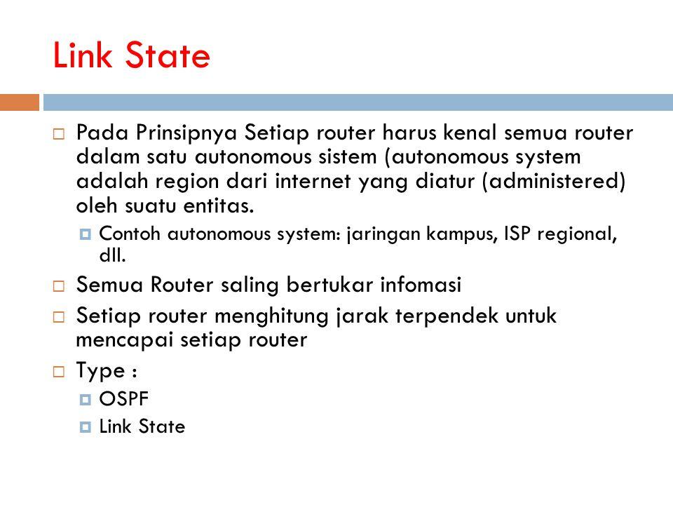 Link State  Pada Prinsipnya Setiap router harus kenal semua router dalam satu autonomous sistem (autonomous system adalah region dari internet yang d