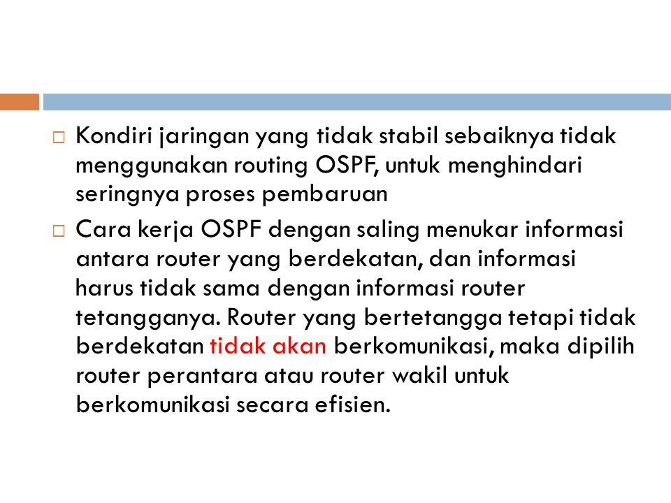  Kondiri jaringan yang tidak stabil sebaiknya tidak menggunakan routing OSPF, untuk menghindari seringnya proses pembaruan  Cara kerja OSPF dengan s