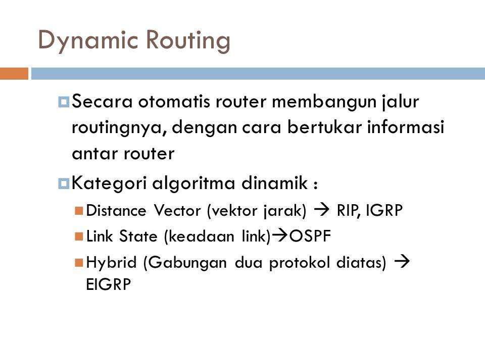  Secara otomatis router membangun jalur routingnya, dengan cara bertukar informasi antar router  Kategori algoritma dinamik : Distance Vector (vekto