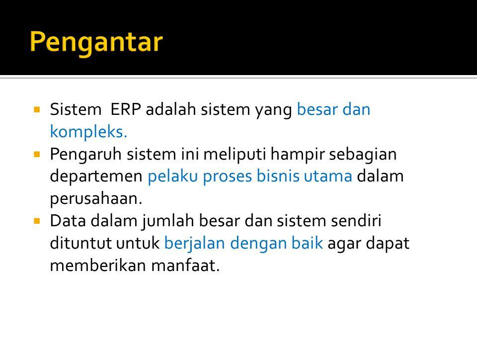  Sistem ERP adalah sistem yang besar dan kompleks.  Pengaruh sistem ini meliputi hampir sebagian departemen pelaku proses bisnis utama dalam perusah