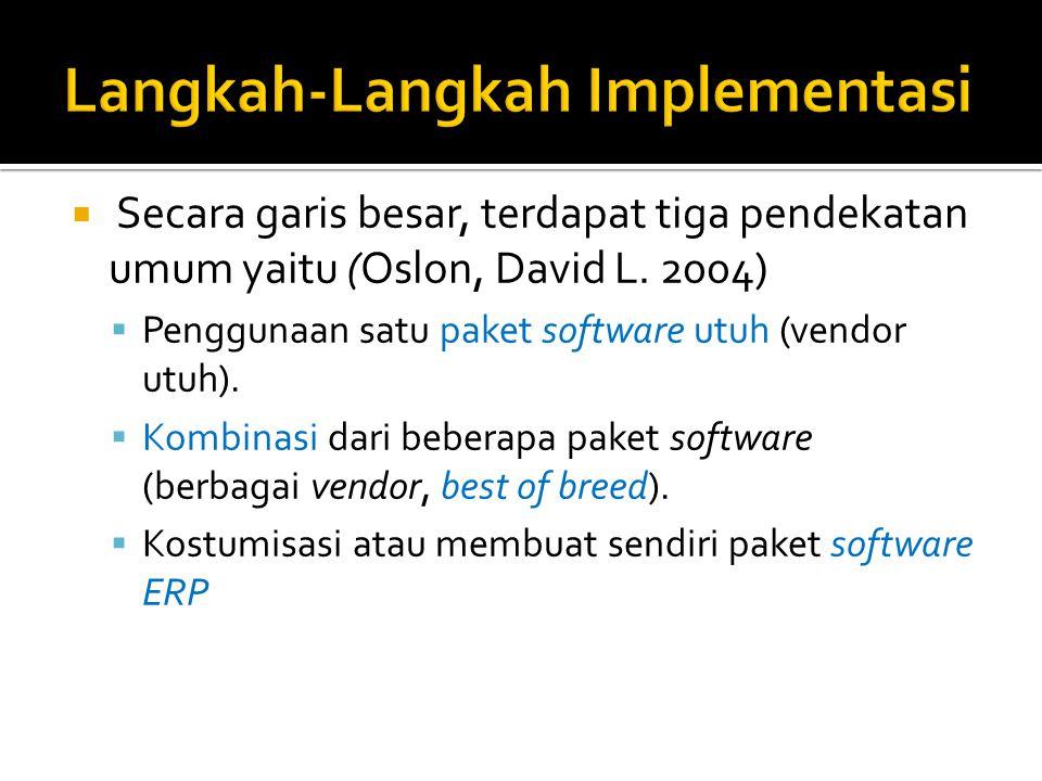 Secara garis besar, terdapat tiga pendekatan umum yaitu (Oslon, David L. 2004)  Penggunaan satu paket software utuh (vendor utuh).  Kombinasi dari