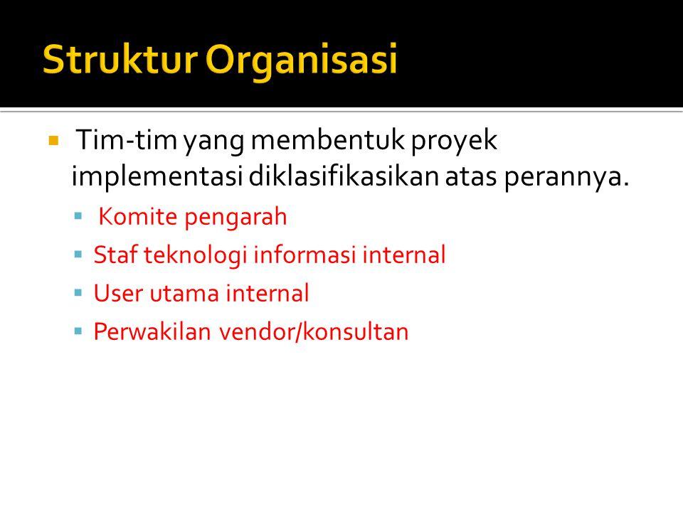  Tim-tim yang membentuk proyek implementasi diklasifikasikan atas perannya.  Komite pengarah  Staf teknologi informasi internal  User utama intern